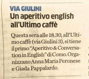 Aperitivo in Inglese
